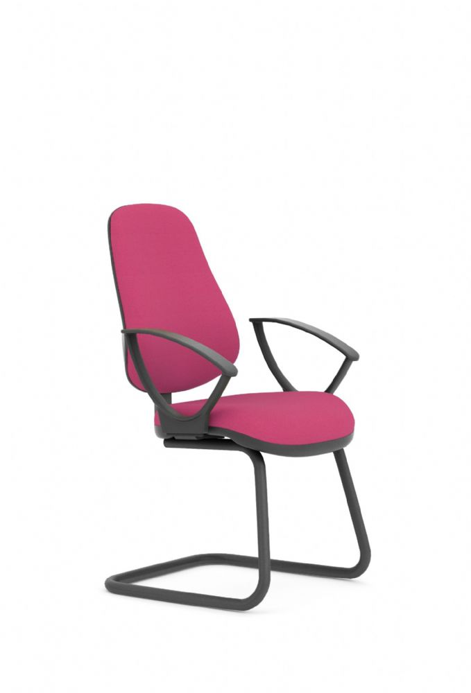 Pledge Topaz High Back Visitor Chair With Cantilever Frame With Fixed Arms